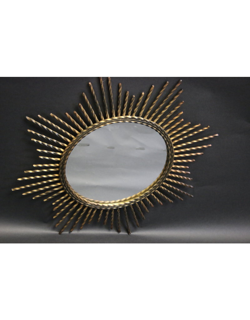 French Metal Sun Mirror vintage Model with metal pens round mirror