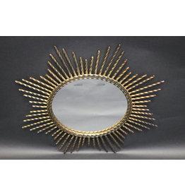 Franse metalen zonnespiegel vintage model met metalen pennen ronde spiegel