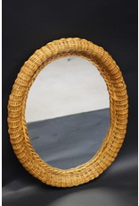 Oval rattan bamboo mirror vintage 60s