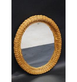 Ovale rotan bamboe spiegel vintage jaren60