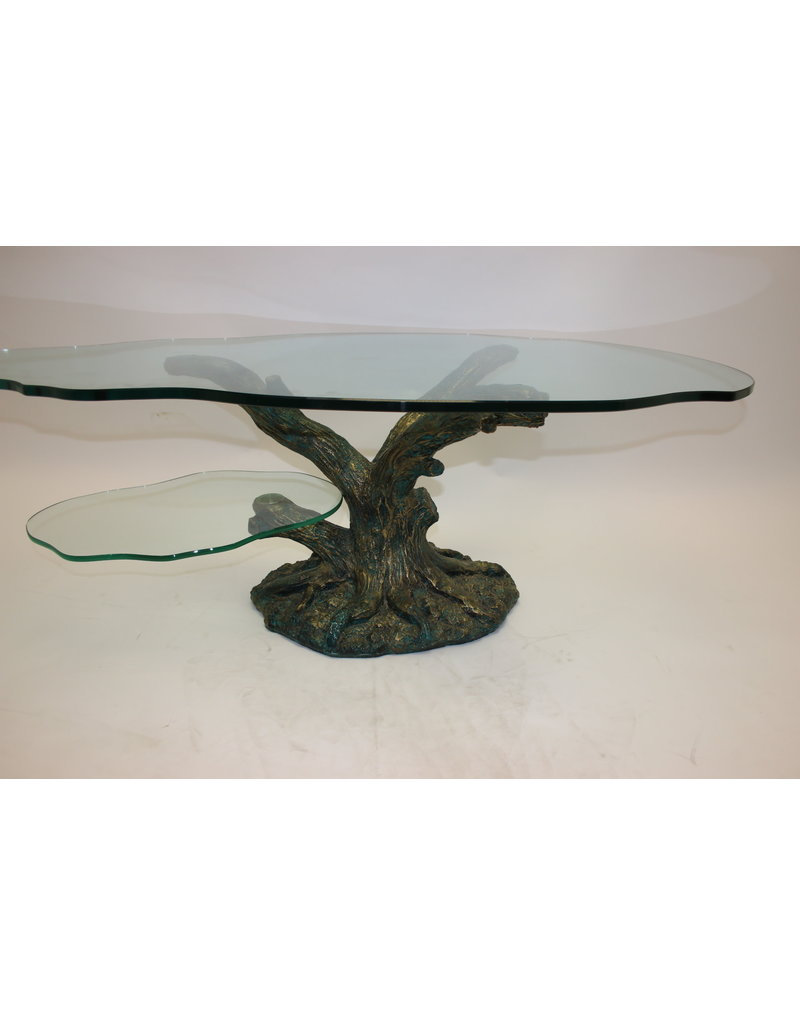 Glass Table Coffee Table.Tree Trunk Coffee Table With 2 Glass Plates With Bronze Base
