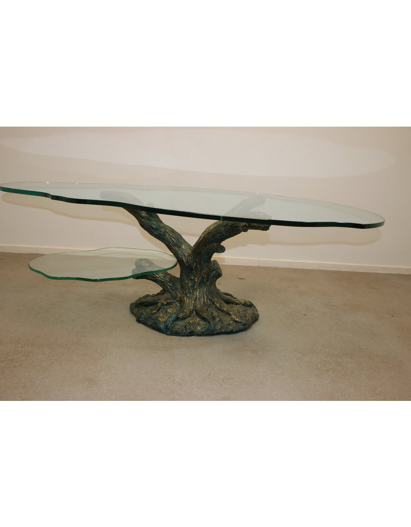Tree trunk Coffee table with 2 glass plates with bronze base