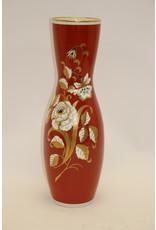 Grote Rode Porseleinen Vaas met Gouden Bloemen VEB Wallendorfer