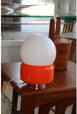 French Vintage Table Lamp Orange with White Ball