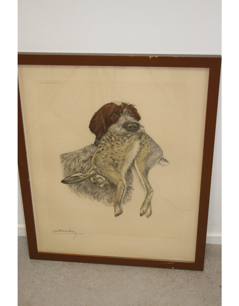 Large Print of Wire Hair with Hare in its mouth Loen Danchin