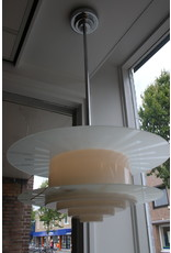 Art deco white glass hanging lamp