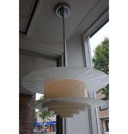Art deco white glass hanging lamp