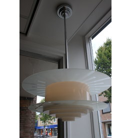 Art deco witglas hanglamp