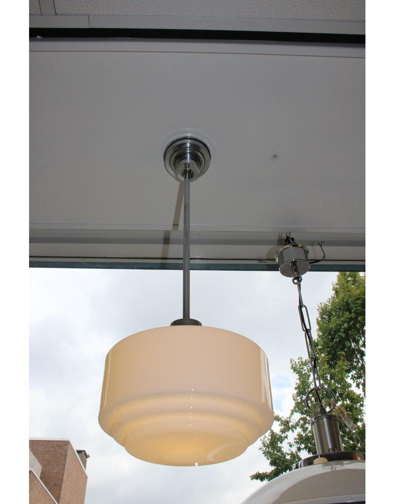 art deco hanging lamp stair glass milk glass