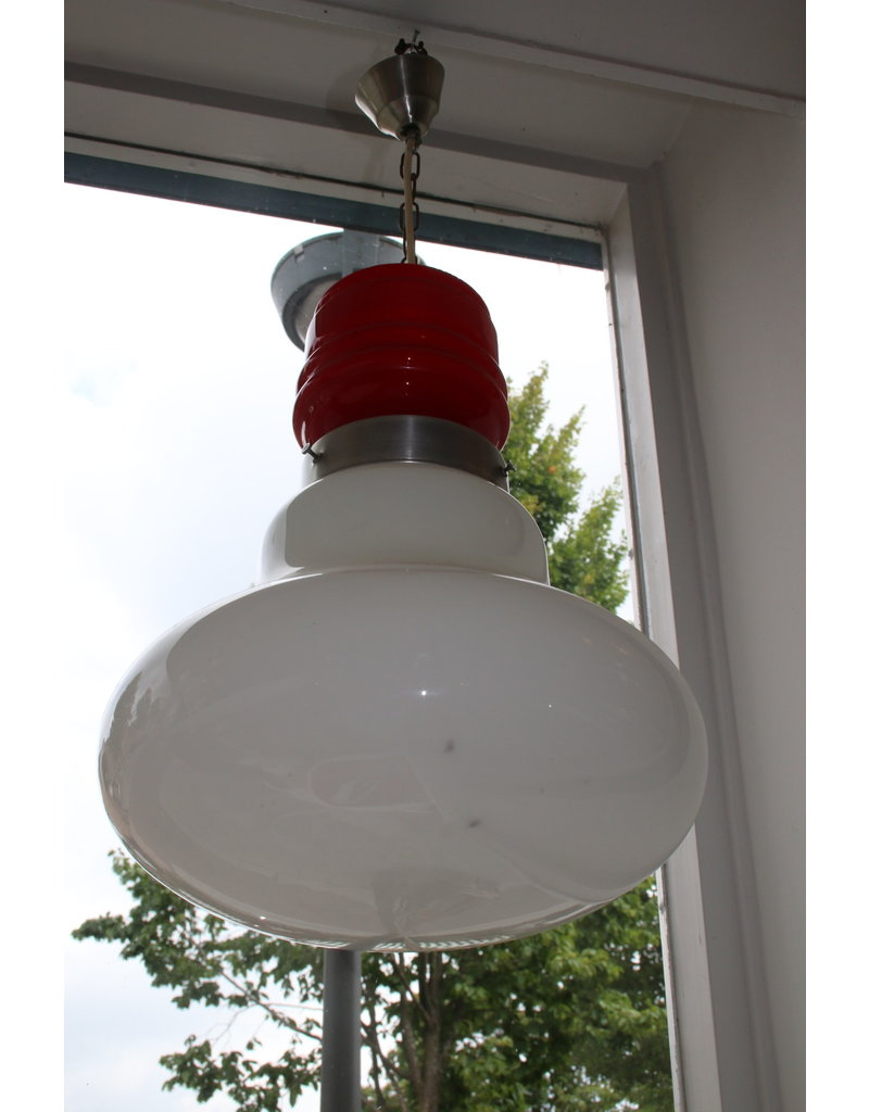 Red hanging lamp with white glass in the 60s