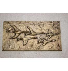 Bronzen Wandplaquette vliegen Vogels