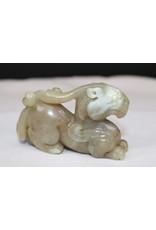 19th White Green Chinese Jade Dragon