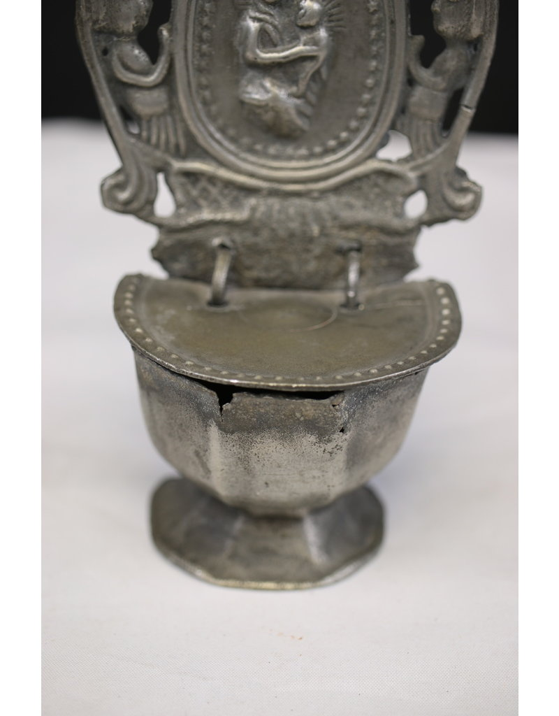19th French Tin Holy Water Bowl