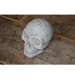 Betonnen Skull Doodskop met Bloemen Ogen