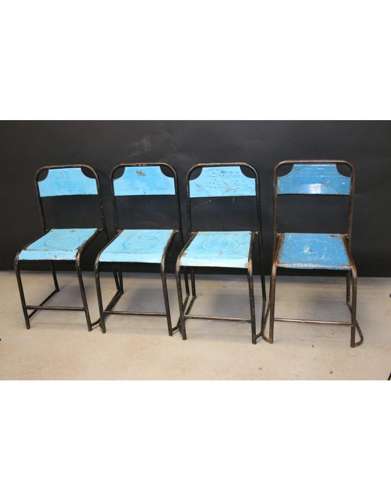 Blauwen Metalen Industriële Stoel Stevig model