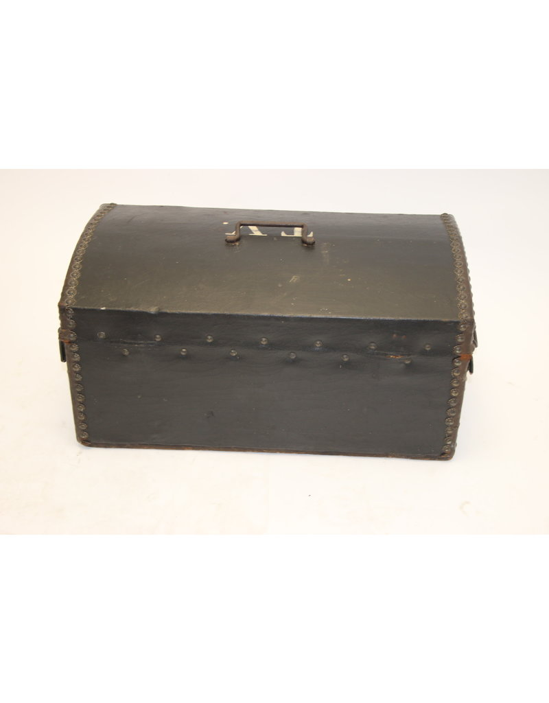 Old French Leather suitcase with wooden side inside