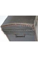 Oude Franse Leren koffer met houten binnen kant