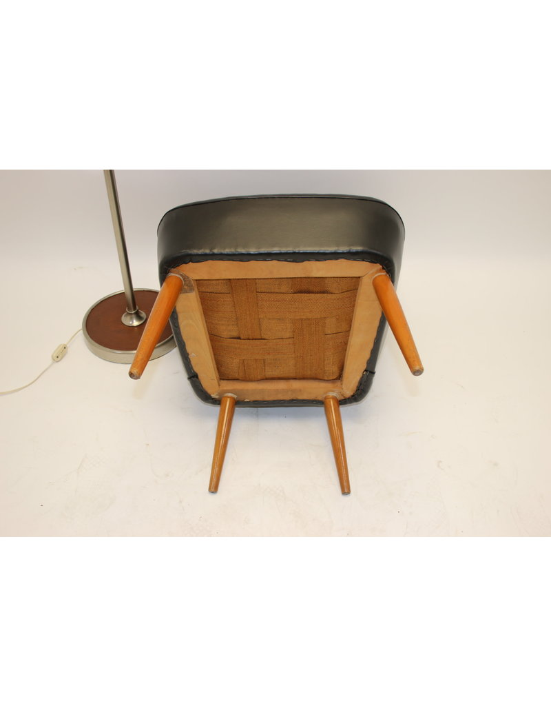 Black vintage skai cocktail chair from the 50s