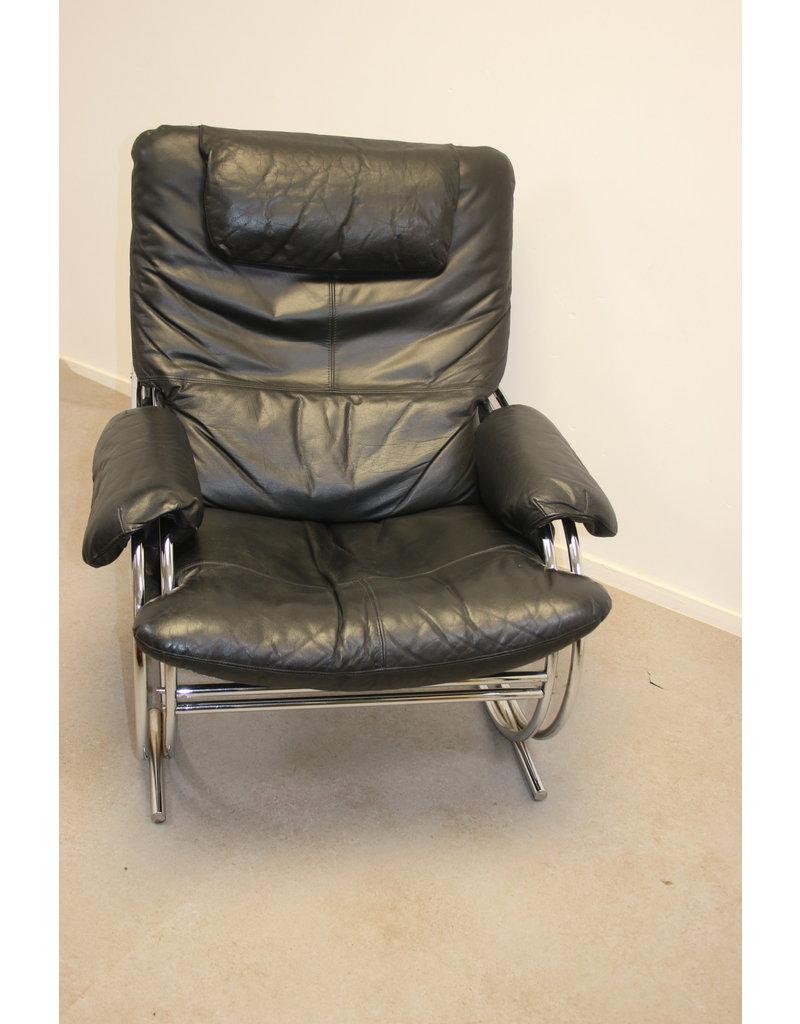 Zwarte leren Design fauteuil met Chrome vreem