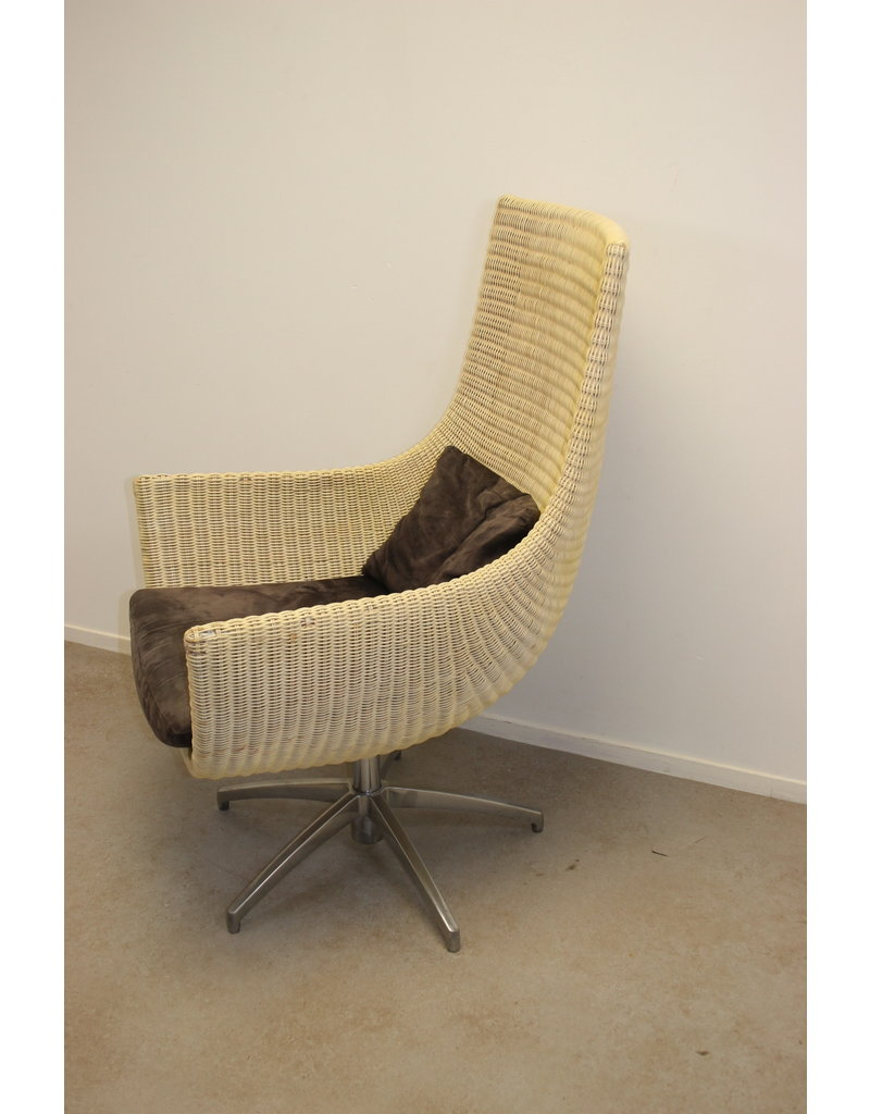 Rotan Design Fauteuil met stervoet 60 jaren in de stijl van dirk van Sliedrecht