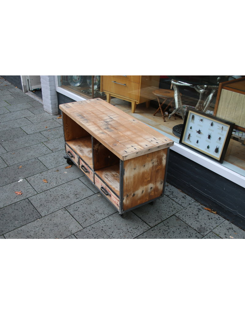 Industrial TV furniture on wheels made to measure and to your liking