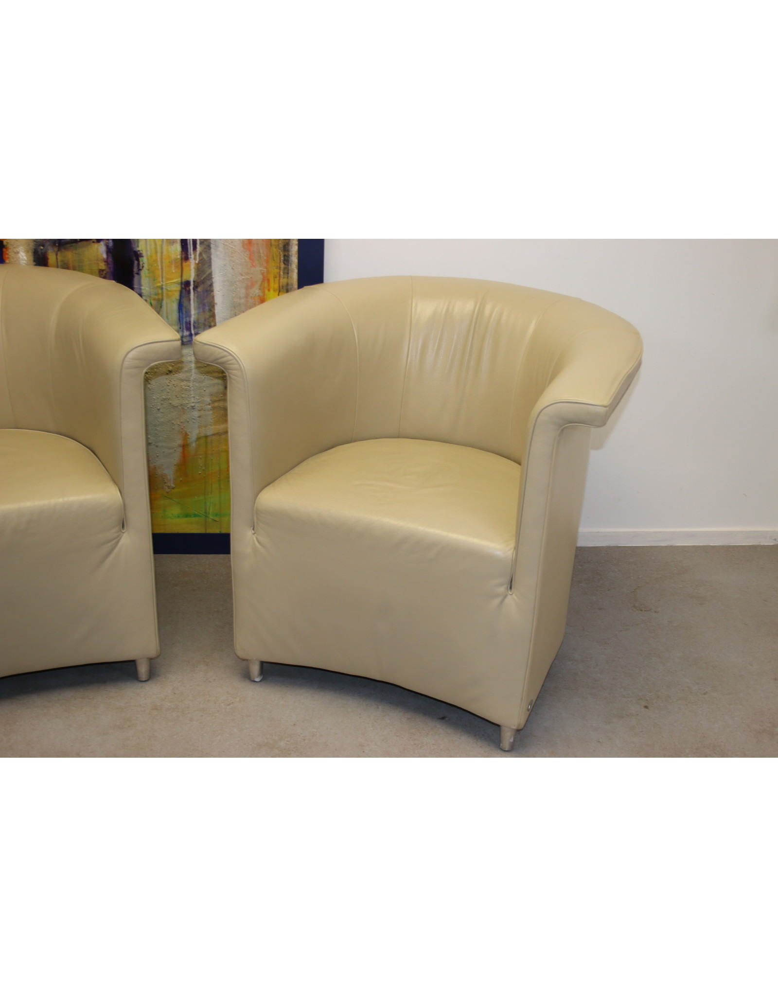 De Sede Ds 725 lederen fauteuilset Beige éénzits stoel echt leer