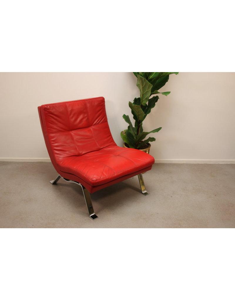 leren fauteuil mooi rood leder.