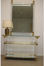 Plexiglas gouden sidetable met bijpassende spiegel
