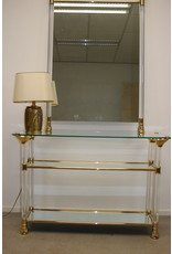 Plexiglass golden side table with matching mirror