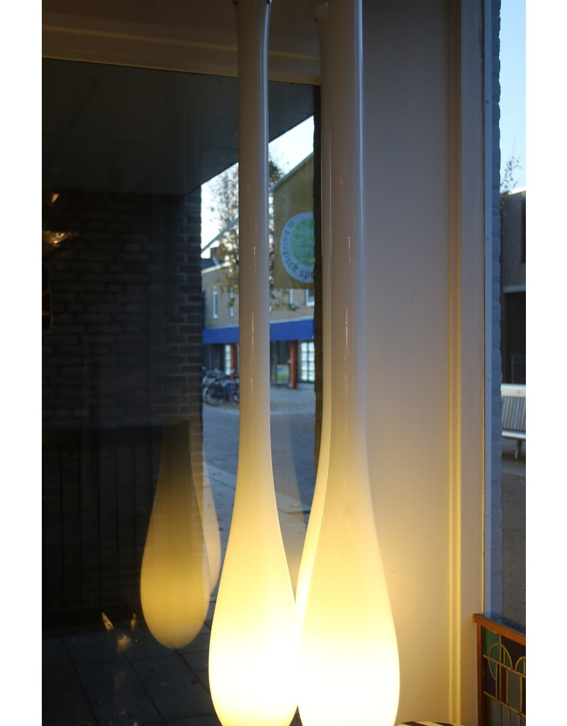 Vistosi Murano White hanging lamps Drops 170 cm design by Paolo Crepax