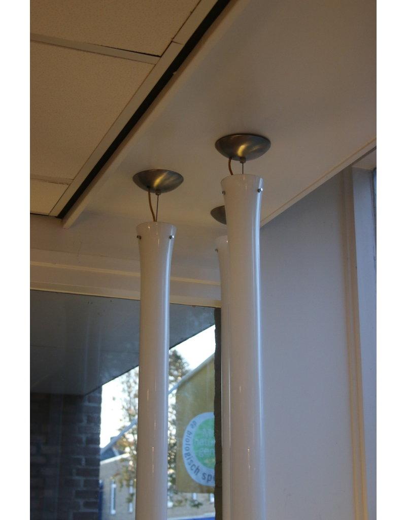 Vistosi Murano Witte hanglampen Druppels 170 cm ontwerp van Paolo Crepax