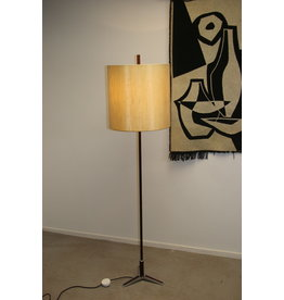 Chrome Floor lamp with rosewood wooden handle