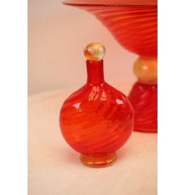 Murano Goudgeel Oranje Flesje met gouden stop gemerkt