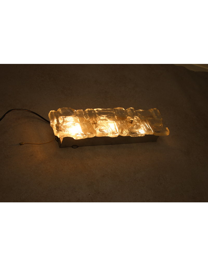Large wall lamp with thick ice glass made at Hillebrand