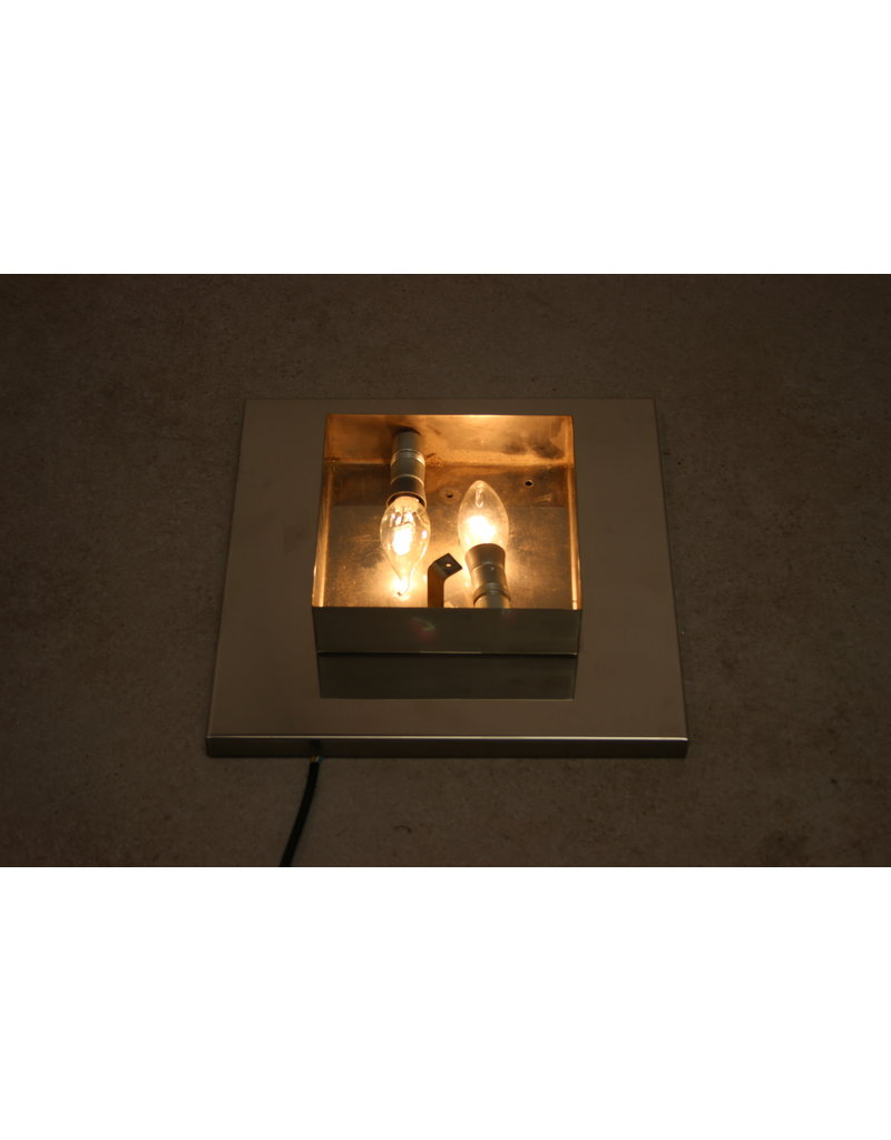 Wall lamp with chrome and ice glass square