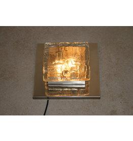 Wandlamp met chrome en ijsglas vierkant