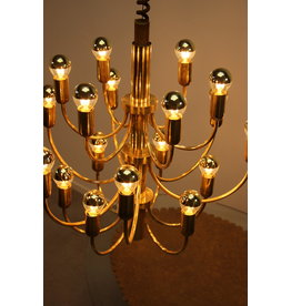Large Golden chandelier Hollywood Regency 1960 18 light points