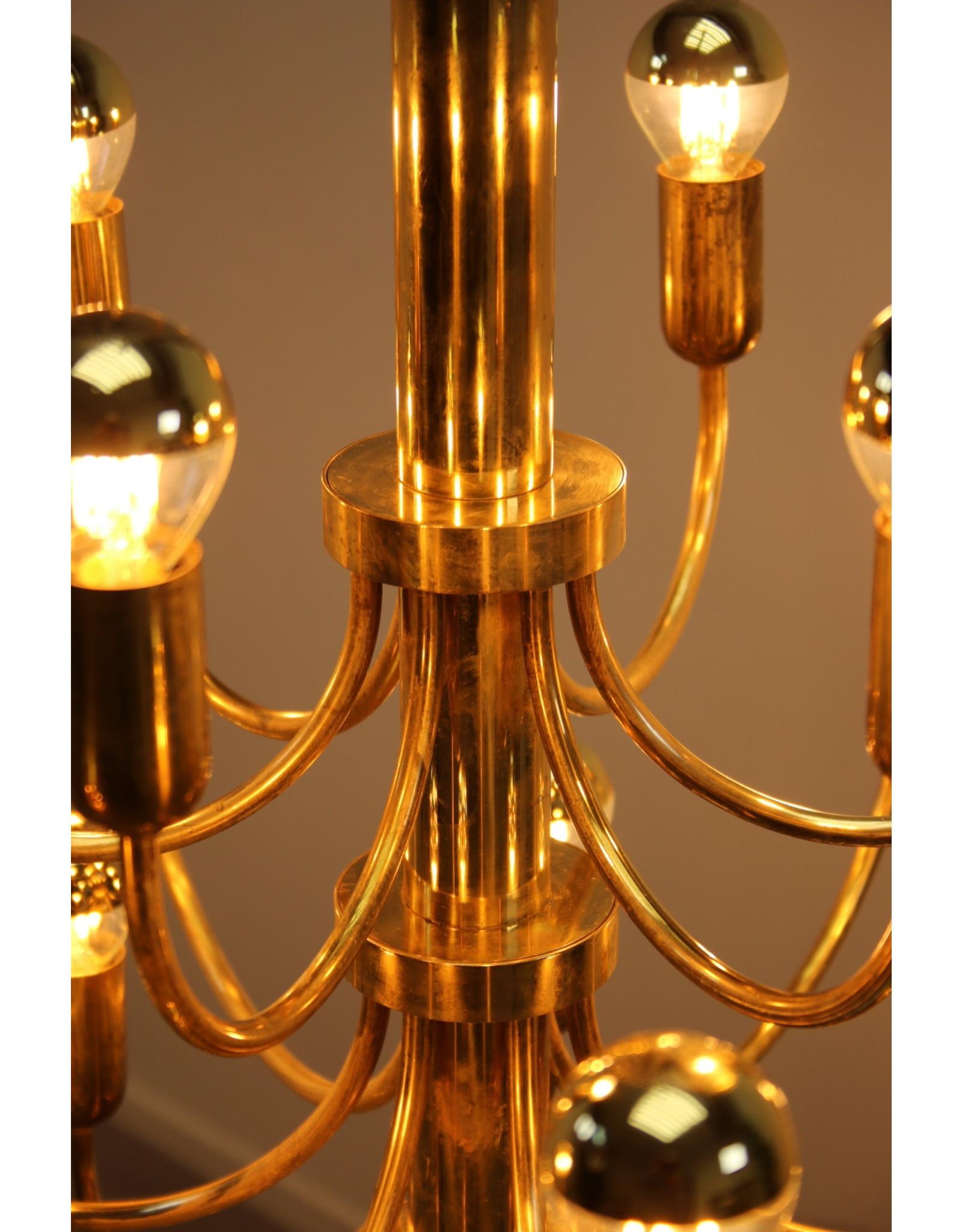 Grote Gouden kroonluchter Hollywood Regency 1960 18 lichtpunten