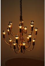 Large Golden chandelier Hollywood Regency 1960 18 light points