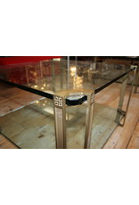 Peter Ghyczy Coffee table Side table with 2 18 mm glass plates and Bronze legs 71.5 x 71.5 x 45 cm