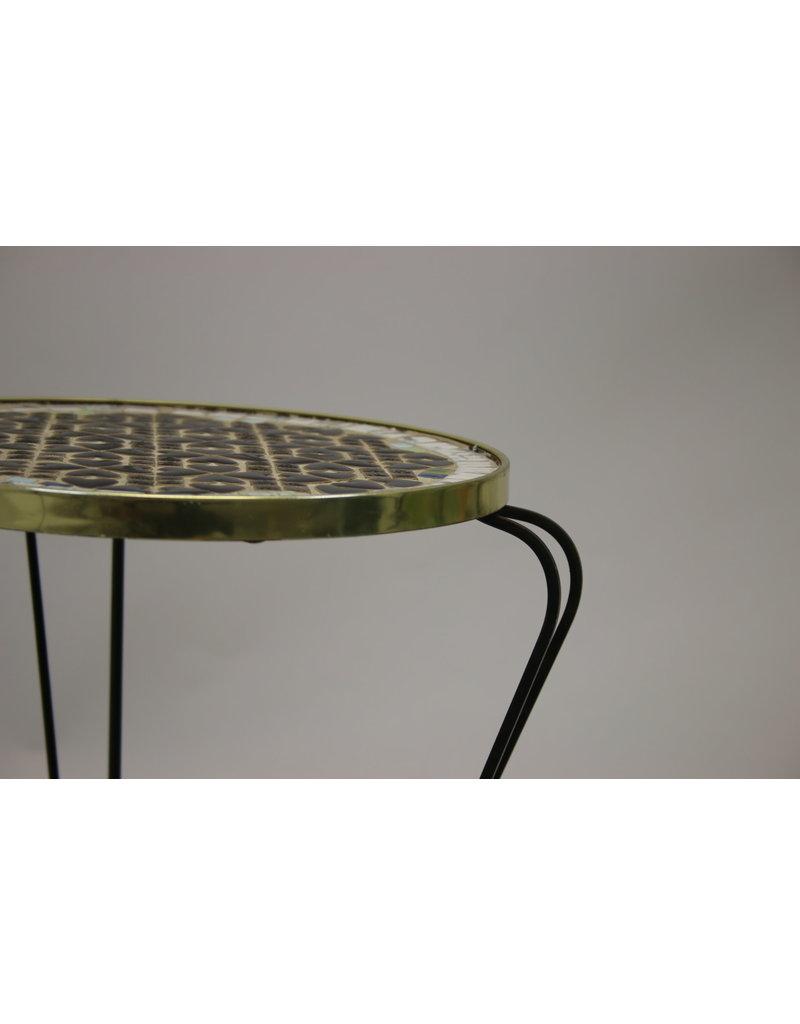 Vintage ronde tegel tafel plantentafeltje