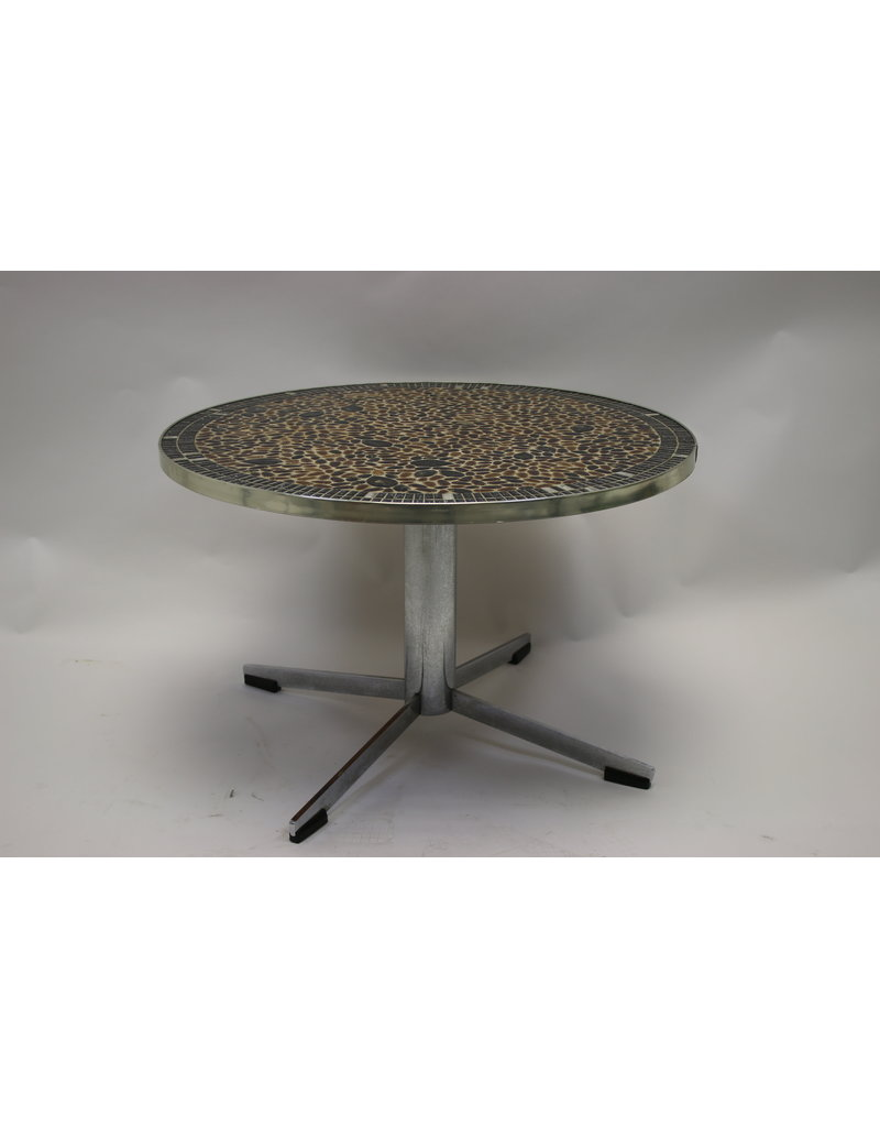 Vintage round tile table plant table Coffee table large