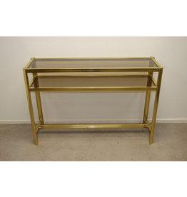 Grote gouden Side table Pierre Vandel stijl met 2 glasplaten
