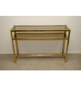 Large golden Side table Pierre Vandel style with 2 glass plates