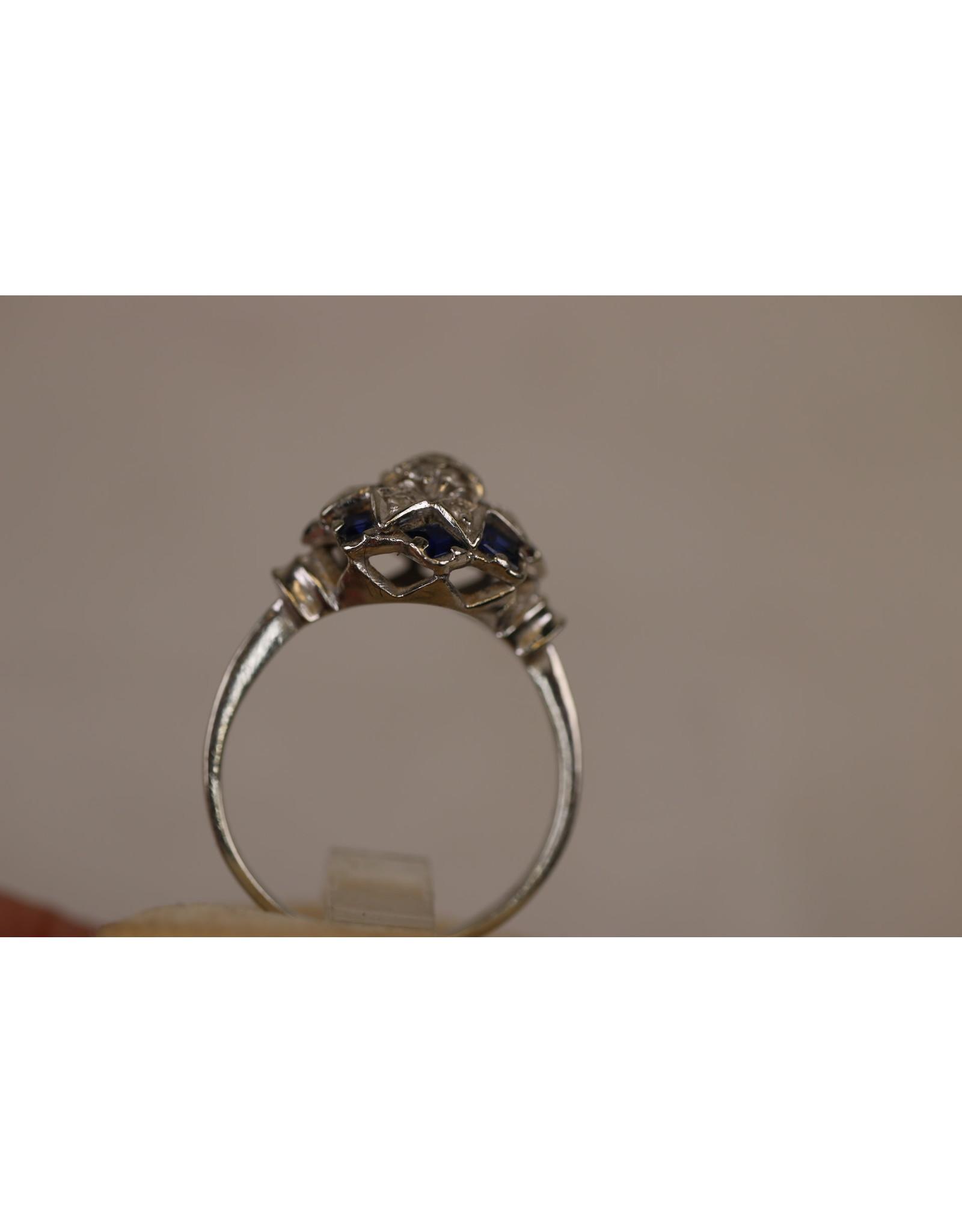 18 Krt Witgouden ring met Saffier en diamant