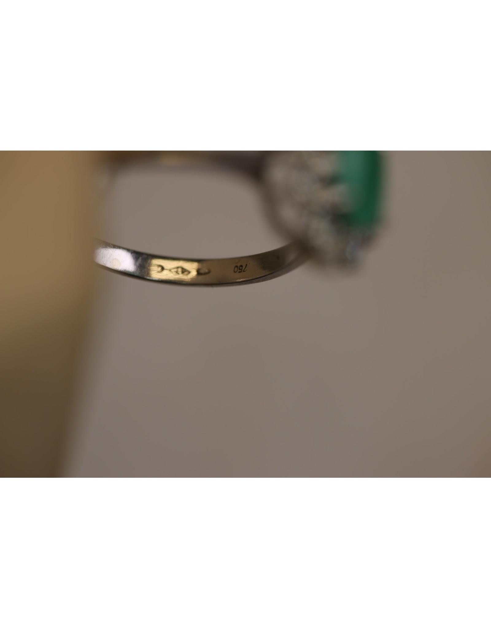 18 Krt witgouden Ring met Smaragd en Diamant