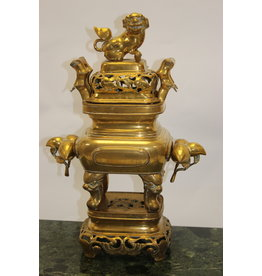 Antiek koperen  wierrook brander  met Chinese draak