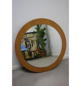 Round white teak mirror 60 cm