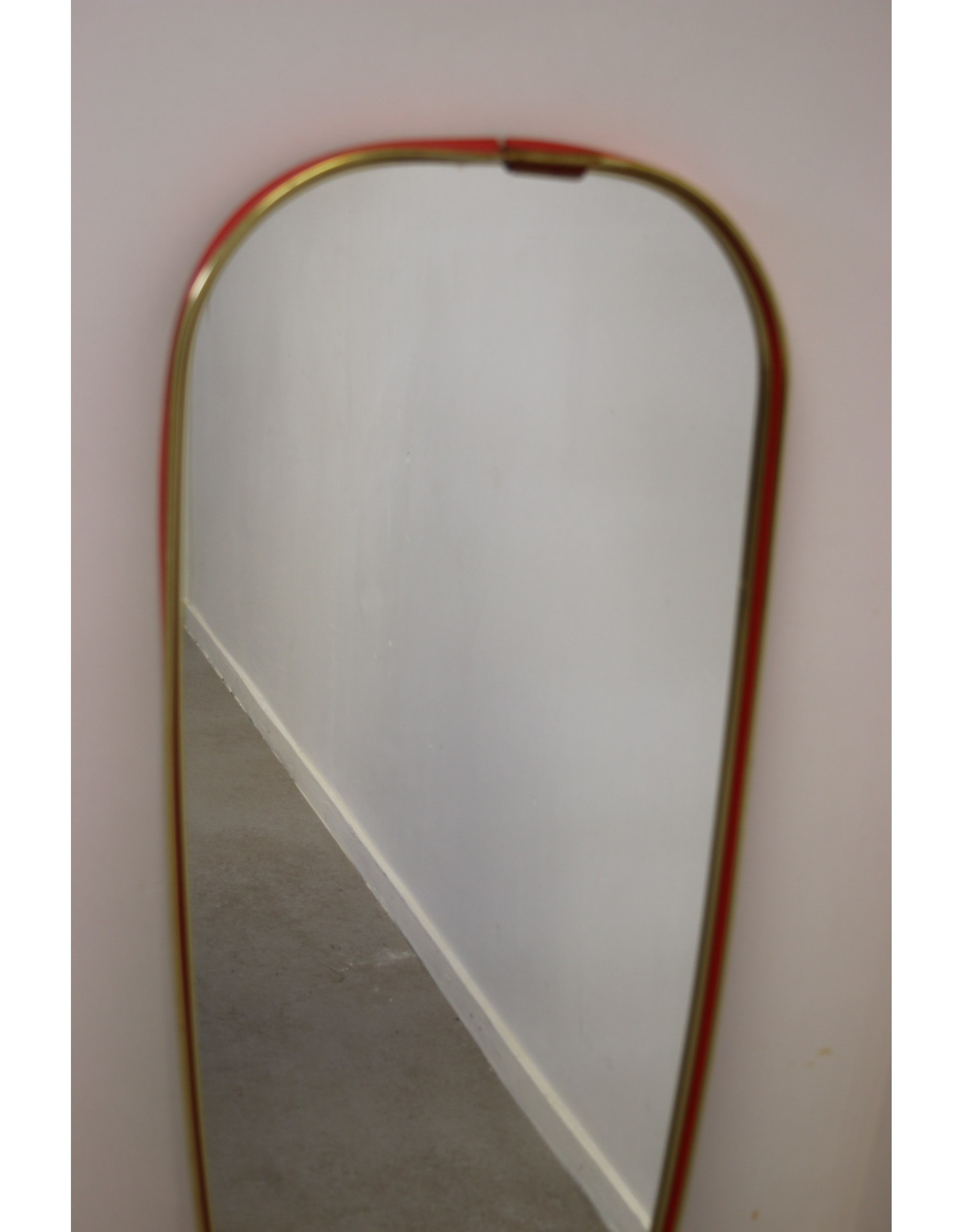 Vintage Wall Mirror With Red Border Timeless Art Nl