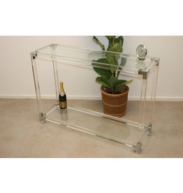 Plexiglass Sidetable Lucite with silver corners